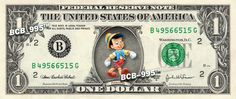 PINOCCHIO $ REAL Dollar Bill Disney Cash Money Memorabilia Collectible Celebrity