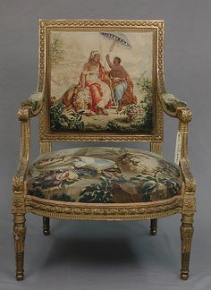 Armchair after a composition by Jean Jacques François Le Barbier (French, Rouen 1738–1826 Paris), commissioned for Louis XVI