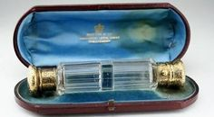 c1890 BOXED GILT DOUBLE END CLEAR SCENT PERFUME BOTTLE