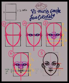 """checkoutmysmashhits: """" - Vi's shitty simple face tutorial for females - """" Step 1: - Draw a huge cross to divide the face into half, both vertically and horizontally. - From the sides of the rectangle, draw lines and connect it to the vertical line..."""