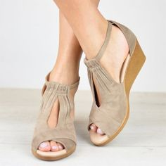 32169c0492b Plus Size Comfort Sole Center Cut Wedges Peep Toe Wedge Sandals with Buckle