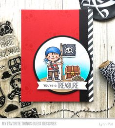 Handmade card from Lynn Put featuring Party Like a Pirate Stamp Set and Die-namics, Stitched Sentiments Strips Die-namics, and Diagonal Stripes Stencil from My Favorite Things #mftstamps
