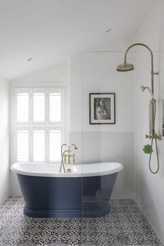 The owners of this Victorian terraced house in London had a vision to blur the lines between traditional and modern in a beautiful bathroom that would stay true to its roots. Bathroom Styling, Free Standing Bath, Bathroom Inspiration, Bathroom Decor, Victorian Bathroom, Victorian Style Bathroom, Bathroom Spotlights, Cottage Bathroom, Bathroom Design