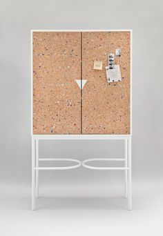 NOTEBOOK cabinet with cork doors wit color flakes in by Maria Gustavsson for Swedish Ninja.