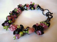 Lampwork Bracelet Cluster bracelet Pink and black by kC2Designs, $47.95
