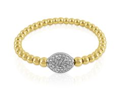 Also Signature Collection Oval Diamond Charm Stretch Bead Bracelet, Fashioned in 14K Yellow and White Gold and Diamonds.