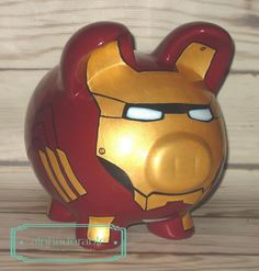Alphadorable: Custom Super Hero and Star Wars Hand painted piggy banksIronman Spiderman Boba Fett - Piggy Banks - Ideas of Piggy Banks Pebble Painting, Pottery Painting, Pig Bank, Metallic Gold Paint, Personalized Piggy Bank, Color Me Mine, Egg Carton Crafts, Cute Piggies, Kids Class