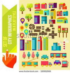 Set of city infographics in a flat style - stock vector