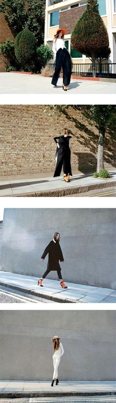 Styling by Nobuko Tannawa for Another Mag featuring pieces by recent MA graduates from the Royal College of Art in London: Victoria Alice Hill, Itziar Vaquer, Ruth Green, Abnit Nijjar, and by St Martins graduate Thomas Tait. (outdoor shots).