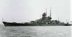 11 in battleship Gneisenau, easily identified by the mainmast abaft her funnel (sister Scharnhorst had hers moved further aft in 1939). She was terminally damaged by RAF bombing in 1942 .