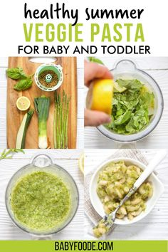This Chunky Summer Veggie Pasta for Baby and Toddler combines all the flavorful tastes of summer into one bite-size dish! Filled with zucchini, asparagus, leeks, basil, and a small shaped whole grain pasta. Great for a Stage 3 Baby Food Puree, Finger Food, or Baby-Led Weaning. Baby Puree Recipes, Baby Food Recipes, Baby Cooking, Veggie Pasta, Toddler Lunches, Led Weaning, Healthy Summer, Kid Friendly Meals, Bite Size