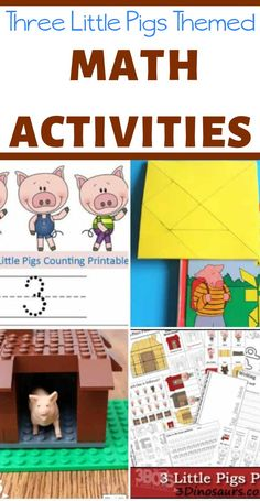 These Three Little Pigs math activities feature learning ideas to teach counting, shapes, sequencing, STEM engineering, and more! 3 Little Pigs Activities, Fairy Tale Activities, Counting Activities, Preschool Activities, Summer Activities, Book Activities, Three Little Pigs Houses, Three Little Pigs Story, Pig Crafts
