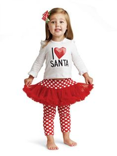 Mudpie Christmas I Love Santa Tutu Set