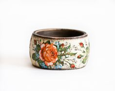 Shabby Chic Bangle Rustic Bangle Red roses by BeauMiracleJewelry, $21.00