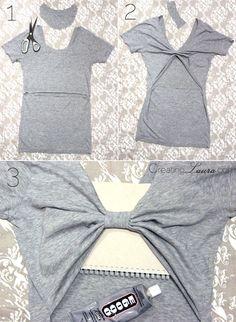 tutorial transformar espalda de camiseta en lazo