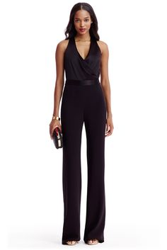 The DVF Layana satin and crepe combo jumpsuit is one of this seasons premier pieces!