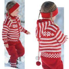 De klassiske mønstre med stjerner og striber er stadig lige populære. Her er mønstrene brugt til dejligt vintertøj til de små. Du får opskrifter på hættetrøje, knickers, strømper og pandebånd.