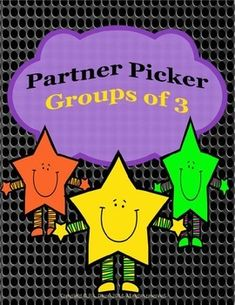 $ not grade specific    This 19-page Partner Picker package is a creative way to randomly group students when they are required to work in groups of three. There are 15 pages of cards (4 cards or 2 pairs per page!). The cards are grouped into three pictures which all relate to each other in some way. The cards can also be used for a memory/ match game on a rainy day or as a quiet writing assignment when their work is done.