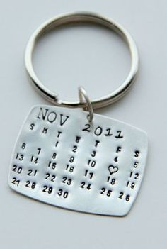 I want to make this.. Calendar Keychain Silver, Calendar Key Chain, Valentines Gift For Him, Wedding Favors, Save The Date, Special Day- Anniversary, wedding Men on Wanelo