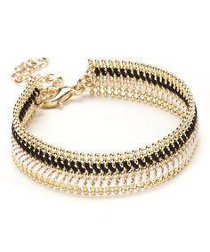 Look at this #zulilyfind! Black & Gold Woven Ball Chain Bracelet #zulilyfinds