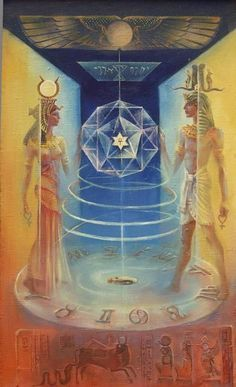 = The number 13 brings the test, the suffering and the death. It symbolizes the death to the matter or to oneself and the birth to the spirit: the passage on a higher level of existence. (Isis and Osiris by Alla Yashina / Sacred Geometry) + ✡ /V\ Isis Goddess, Egyptian Goddess, Egyptian Mythology, Art Visionnaire, Esoteric Art, Egypt Art, Occult Art, Visionary Art, Sacred Art