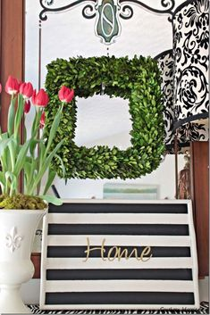Diy Crafts Ideas : Thriftstore tray update with stripes and words! Easy makeover using FrogTape.