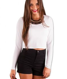 Jackie Long Sleeved Cropped Top – White | redthread7.com.au
