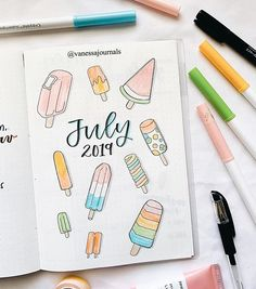 Bullet Journal Juli Deckblatt von ig @ vanessajournals – My Great Pins Bullet Journal School, Bullet Journal Month, Bullet Journal Cover Ideas, Bullet Journal Banner, Bullet Journal Notebook, Bullet Journal Layout, Bullet Journal Inspiration, Journal Covers, Bullet Journals