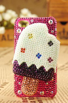 iPhone4 3GS Icecream Pearls Handmade Skin Case