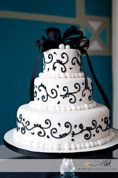 Simple Elegant white fondant black ribbon Custom Cakes Gallery - Wedding Cakes - TipsyCake Chicago