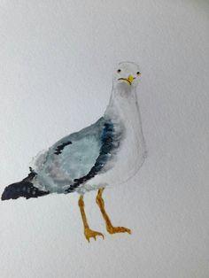 watercolour seagull
