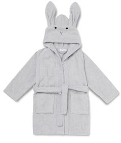 Lily Rabbit Bathrobe in Dumbo Grey by Liewood - Junior Edition Hipster Babys, Cosy Night In, Dolls Prams, Baby Gym, Unisex, Belt Tying, 6 Years, Organic Cotton, Raincoat