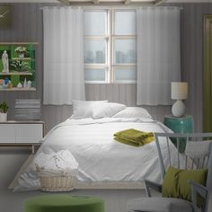 'Green and white bedroom.' created in #neybers