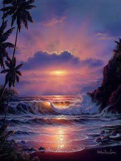 Beautiful Paintings, Beautiful Landscapes, Beautiful Sunrise, Seascape Paintings, Beach Paintings, Ocean Art, Beach Art, Pretty Pictures, Amazing Art