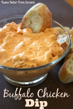 "Buffalo Chicken Dip Recipe ~ It's tangy and has a bit of a ""bite"" to it (but it's not too hot)... Served with some yummy crusty bread cubes, crackers and celery sticks!"