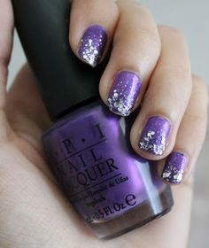 Purple and Silver Glitter Nails