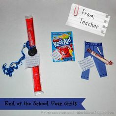 """On Preschool Graduation Day, my son's teacher had these fun End of the School Year Gifts for the students. You are a real """"Smartie"""" Pants! You will do great in Kindergarten! His teacher cut a teeny pair of pants from blue construction paper and placed a smarties candy roll with it. Have a """"Kool """"Summer! . . . . ."""