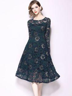 5282bffb63c Vinfemass Elegant Solid Color Lace Party Skater Dress