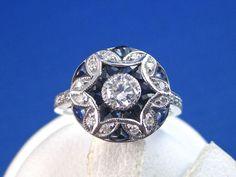Elegant Sapphire & Diamond Vintage Ring 14K