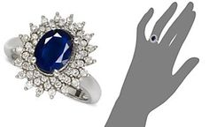 14k White Gold Ring, Sapphire (2-1/5 ct. t.w.) and Diamond (1/2 ct. t.w.) Oval