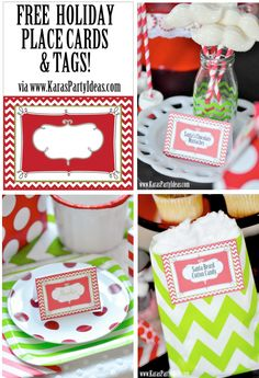 FREE printable holiday Christmas place cards & tags via www.KarasPartyIdeas.com!