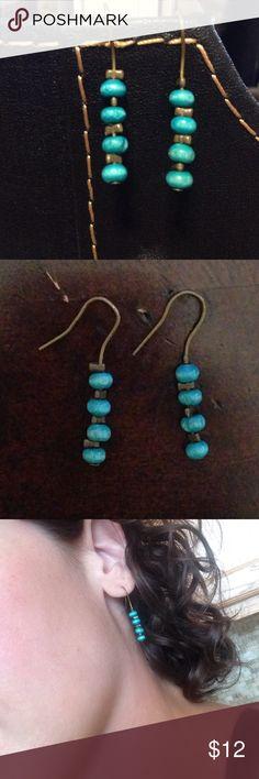 ⚡WEEKEND SALE⚡️turquoise earrings 1.25in  004 Cute turquoise earrings. 1.25in long. Nickel free. Copper in color Jewelry Earrings
