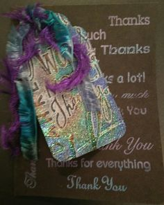Pearl-Ex background interference violet and aqua.  Tag double embossed.  Thank you card.