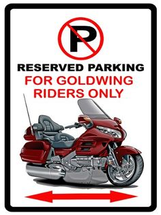Honda Goldwing Motorcycle Cartoon No Parking Sign ** Read more reviews of the product by visiting the link on the image.