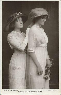 Misses Zena & Phyllis Dare by Foulsham & Banfield (Rotary Photographic Series) c.1900s
