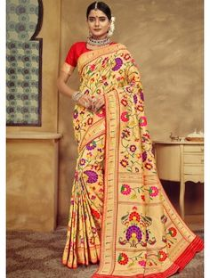 Buy online beautiful collection of party wear saree and casual wear saree. Shop this patola silk multi colour weaving work designer traditional saree. Tussar Silk Saree, Art Silk Sarees, Silk Sarees Online, Designer Blouses Online, Traditional Silk Saree, Indian Designer Sarees, Trendy Sarees, Embroidered Clothes, Festival Wear
