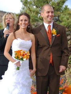 Groomsmen Chocolate Brown Tux With Orange Vest And Tie
