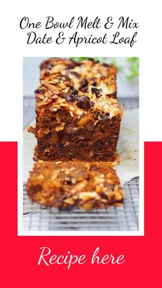 One Bowl Melt and Mix Date and Apricot Loaf - Cooking for Busy Mums Use sweetened pumpkin purée for brown sugar Loaf Recipes, Baking Recipes, Cake Recipes, Dessert Recipes, Apricot Recipes, Sweet Recipes, Healthy Cake, Healthy Baking, Food Cakes