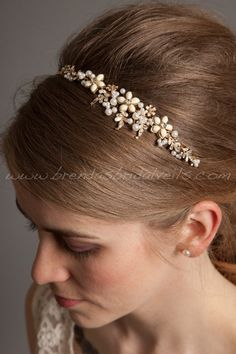 Gold Headband with Pearls, Rhinestones, Bridal Headband, Wedding Hair Piece - Brandi via Etsy
