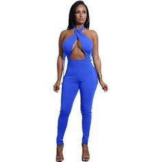 6c60d89c7e4 Liooil Sexy Club Bandage Jumpsuit Lace Up Hollow Out Halter Bodycon Rompers  Womens Jumpsuit Backless Off Shoulder Party Overalls